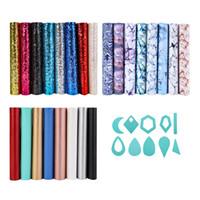 stoffhaar verbeugt diy großhandel-Set Faux Leather Fabric Sheets Multicolor Glitter Marmorierung fester Stoff für DIY Hair Bows Ohrringe Craft Making
