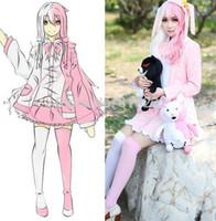 trajes de coelho branco venda por atacado-Danganronpa 2 Monomi Rosa Coelho Branco Uniforme Vestido Outfit Anime Trajes Cosplay