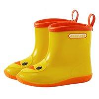 mädchen gelb stiefel großhandel-Kinder Raincoat Mating Regen Stiefel Baby-Mädchen-Regen-Schuhe Karikatur-Tier-Gelb-Ente Wasser Stiefel
