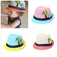 chapéu de palha verão menino venda por atacado-Chapéu de verão crianças Moda crianças Boné bebê menina menino Chapéu de Sol Do Bebê Meninos Praia Cap Palha Crianças Jazz Hat 2-8 T