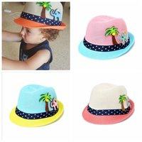 мальчики джазовые шляпы оптовых-Лето детские Hat мода дети шапки девочка мальчик ВС Hat Baby мальчики пляж кепка соломенная шляпа дети Джаз 2-8Т