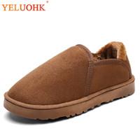 hiver chaussons intérieur homme achat en gros de-Pantoufles d'hiver pour hommes en peluche, chaussures chaudes pour la maison