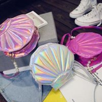 bolsos lolita al por mayor-Laser shell Lolita Bolso de cuero de las mujeres encantadoras del bolso PU Niñas Escuela Messenger Bag Crossbody almacenamiento Monedero Bolsas AAA1690