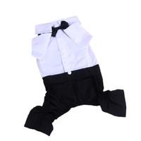 Wholesale leg jacket online - Sling Suit Dogs Clothes Four Legged Suit Pants Tie Tie Pet Supplies Simple Generous Black And White Cloth Button hjC1
