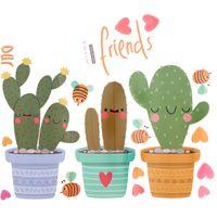 ingrosso vaso di fiori di vinile-DIY Pot Cultura Vinile Wall Sticker Pianta Verde Parete Decalcomanie Vaso Fiore Cactus per Soggiorno Decorazione Domestica D19011702