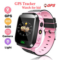 Wholesale pink kids watch for sale - Q528 Smart Watch for Children Smart Bracelet LBS Tracker SOS with Light Anti Lost Wristband with SIM Card Camera for IOS Android in Box