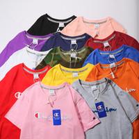 parlaklık moda tişört toptan satış-2019 Yeni Moda 12 renk Champs Nakış LOGOSU kısa T-shirt Çiftler Severler saf pamuk Kısa Kollu Erkek kadın Hip Hop Sokak Stili Tees Sh