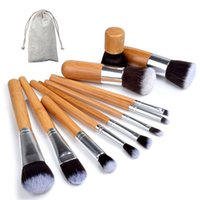 Wholesale bamboo makeup free shipping resale online - Bamboo Handle Makeup Brushes Set Professional Cosmetics Brush kits Foundation Eyeshadow Brushes Kit Make Up Tools set