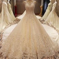 Wholesale arab photo for sale - Group buy Sexy Weddings Dress See Through Back Sleeveless Ball Gown Mariage Lace Arab Wedding Gowns Ivory Real