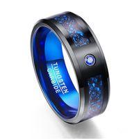 ingrosso anelli in fibra di carbonio di tungsteno-Scrub Carbon Fiber Scrub Blue Zircon Men Rings 100% carburo di tungsteno Anelli per hombres Black Dragon