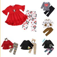 Wholesale butterfly flower clothing for sale - Group buy Baby Girls Ruffle Sets Design Toddler Girls Striped Long Sleeve Suit Kids Designer Girls Little Floral Flare Pants Kids Casual Clothes