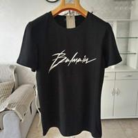 nouvelles perruques d'été achat en gros de-Balmain Mens Designer T-shirts Noir Blanc Gris Mens Designer De Mode T-shirts Top Basic À Manches Courtes S-XXL