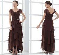 hi lo коричневые платья оптовых-Элегантный коричневый A Line Платья для матери невесты плюс размер Ruched шифон Привет Lo Loi Back Платья для матери вечерние вечерние платья