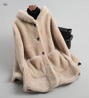 ingrosso seni naturali pieni-Zizhen naturale pelliccia dell'agnello soprabito solido con cappuccio spessa pelliccia caldo Tasche monopetto NST18135 T191104