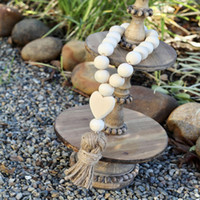Jewelry Farmhouse Decoration Heart Wood Beads Natural Linen Ropes Tassel Bead String Chain Hand Made Home Decor Wall Hanging M2176