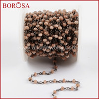 Wholesale black findings jewelry for sale - Group buy Meters Gold Silver Black Color Pink Opal Roundel Faceted Beads Rosary Chain Fashion Beaded Chains Jewelry Finding JT208