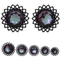tampões para as mulheres venda por atacado-1 Pcs Preto Gem Stone Ear Plugs Gauges brincos unisex Mulheres Homens Orelha Flesh Tunnel Penetrante Expander Ear Maca Body Piercing Jewelry
