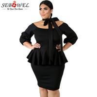 vestido negro peplum talla xl al por mayor-SEBOWEL Negro Plus Size Peplum Bodycon Vestido Mujer Traje Formal con Faja Ate el Hombro Oficina Vestidos de Mujer 2018 Otoño
