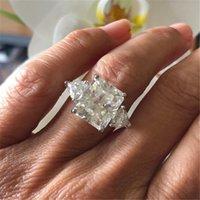 en iyi parmak takı toptan satış-Benzersiz Tasarım yüzük Kare 3ct Elmas 925 ayar gümüş Parti düğün band yüzük kadın erkek Parmak Takı için En Iyi Hediye