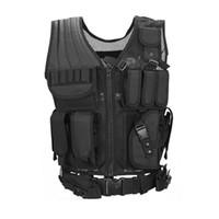 gilet noir multi-poches achat en gros de-Ceinture de camping protéger multi-poches gilet de combat multi-fonctionnel maille respirant gilet tactique noir opérations sur le terrain équipement