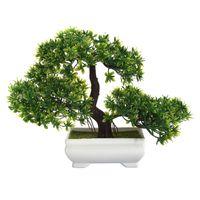 ingrosso alberi bonsai-Mini Creative Bonsai Tree artificiale decorazione della pianta non sbiadita senza annaffiatoio per ufficio casa di alta qualità