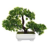 künstlicher minibaum großhandel-Mini Kreative Bonsai Baum Künstliche Pflanze Dekoration Nicht Verblichen Keine Bewässerung Topf für Office Home Hohe Qualität
