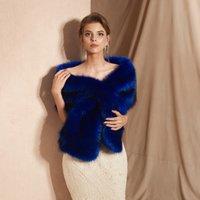 ingrosso bolero blu-CMS18095 Matrimonio rubato in pelliccia, involucro di pelliccia ecologica blu scuro, avvolge boleros avvolge sciarpe da sera scialli donne giacca da ballo festa serale