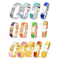 bracelete de esmalte de prata venda por atacado-12mm largura 316 L titanium aço mulheres moda rosa de ouro de prata h manguito pulseirasBangles pulseira de esmalte pulseira de cor