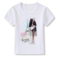 cooles mädchen scherzt t-shirt großhandel-2019 Mode Paris Tower Print t-shirt Kinder Cool Girl Kurzarm Sommer Tops Kinder Oansatz Kleidung Baby T-shirt Kleidung