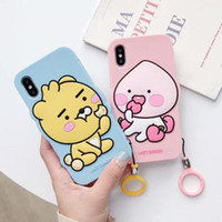 Wholesale peach iphone online – custom Soft Silicon D Cute cartoon Frog Dinosaur Peach Dog Phone Case for iPhone Pro X XS Max XR s Plus with Ring Strap Cover
