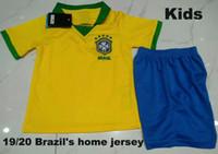 camisetas de fútbol americano para niños al por mayor-Kids Kit 2019 Brasil American Cup inicio amarillo Soccer Jersey 19/20 # 11 P.COUTINHO camiseta de fútbol # 12 MARCELO Fútbol infantil uniformes ventas