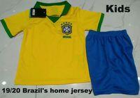 ingrosso pullover americano di gioco 12-Kids Kit 2019 Brasile American Cup casa giallo Soccer Jersey 19/20 # 11 P.COUTINHO maglia # 12 MARCELO Child Football uniformi vendite
