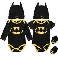 niño sombrero moda niños al por mayor-Batman moda para niños bebés mamelucos del mono Tops de algodón + zapatos + sombrero 3pcs conjunto de ropa conjunto niño recién nacido 0-24M niños