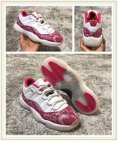 melancia senhora venda por atacado-2019 Baixo 11 WMNS Rosa Azul Marinho Snakeskin Mulheres Homens Tênis De Basquete 11 s Retro retros Melancia Ladies Formadores Designer Sports Sneakers