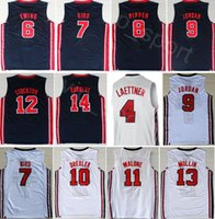camisas cristianas al por mayor-1992 Equipo Uno de Baloncesto 12 de John Stockton Jersey 9 4 Michael Christian Laettner Karl Malone, Chris Mullin, Johnson, Larry Bird, Scottie Pippen