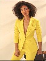 casacos de negócios amarelos das mulheres venda por atacado-Amarelo Mulheres Notch Lapel Jacket + Calças Mulheres Ternos de Negócio Pantsuit Escritório Uniforme Estilo Feminino Calças Terno Feito Sob Encomenda