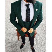 тонкий костюм оптовых-Мужские костюмы на заказ 2018 темно-зеленый мужской пиджак из трех частей куртка черные брюки жилет Slim Fit жених свадебные смокинги