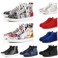 Wholesale christians shoes resale online - New Christian Louboutin Red Bottoms Designer Red Bottoms Studded Spikes casual Shoes Men Women Party Lovers Fashion Sneakers