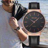 reloj de lujo hombres delgados al por mayor-Hombres Relojes 2018 Top Brand Luxury Ultra Thin Minimalista Cuarzo Relojes de Pulsera de Cuero Reloj Masculino Para Businiess relogio masculino