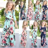 ropa bohemia para niños al por mayor-4styles Girls Floral dress beach Bohemian Niños impresión de flores vestidos de princesa Kids Clothing baby girl casual dress FFA1746