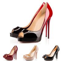 zapatos de punta al por mayor-Diseñador de lujo de tacones altos de charol Peep punta estrecha mujeres bombas plataforma fondos rojos 12 CM 14 CM boda zapatos de vestir 35-42