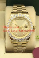 Wholesale buys gold resale online - 5 The New Hot buy Mens Watches mm Day Date k Yellow Gold President Bezel Diamond Asia Movement Automatic