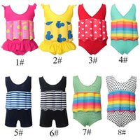 Wholesale boy girl swimming suit for sale - Group buy Floating Buoyancy Baby Boy Girl Swimsuits Detachable Swimwear Siamese Swimming Training Kids Swimming Float Suits MMA1872