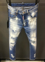 Wholesale paint can sizes online - 2019 New Jeans Men Jeans Patch Slim Paint Little Feet Locomotive Men Jeans Can be recommended size