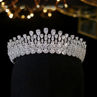 Wholesale luxury headdress jewelry resale online - Luxury Bridal Crown Crystal Fashion Headdress Queen Wedding Crown Wedding Jewelry Hair Accessories Tiara Zircon crown Headpieces