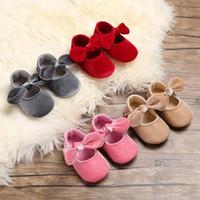 принцесса детская обувь девушки холст оптовых-Детские новая мода обувь новорожденных девочек принцесса твердые цвета первые ходунки мягкий лук холст обувь высокого качества