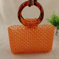 contas de laranja transparente venda por atacado-Portátil redonda Peixe Linha frisada acrílico polido transparente Beads Orange High-end Bag
