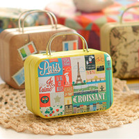 Wholesale suitcase packaging for sale - Group buy Europe type vintage suitcase shape candy box wedding candies packaging box storage tin box Jewelry Pill Cases cable organizer container