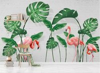 Wholesale wallpapers for livingroom resale online - 3d wallpaper photo wallpaper custom livingroom mural banana leaf flamingo painting picture d wall murals wallpaper for walls d