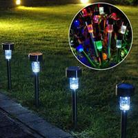 yeni güneş ledli ışıklar toptan satış-Yeni LED Güneş Işıkları Güneş Çim Işık Paslanmaz Bahçe Açık Güneş Işık Koridor Lamba Açık Bahçe Lambası Güneş Enerjili Renkli Güneş Lambaları
